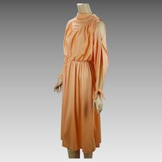 1970s Cold Shoulder Vintage Dress Tangerine Party Disco Dress B40 Petite