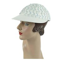 1950s Vintage Sporting Cap Blue and White Baseball Style, The Ermee Cruiser, Sz 21 1/2 - 23