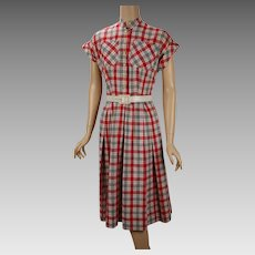 1950s Vintage Dress Red White and Gray Cotton Plaid B36 W28
