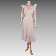 1960s Vintage Nightgown Pink Ruffles and Lace Negligee Sz S - M