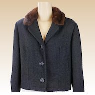 1960s Vintage Jacket Black Boucle Wool with Small Mink Collar by Betty Rose B42