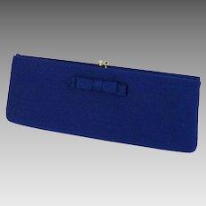 1960s Vintage Clutch Bag Navy Blue Burlap Narrow Purse