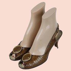 Vintage 1960s Shoes, Palizzio Lloyd Kruft, Brown Faux Lizard Open Heel Peeptoe Sz 7 1/2