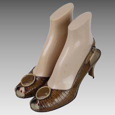 Vintage 1960s Shoes, Palizzio Lloyd Kruft, Brown Faux Lizard Open Heel Peeptoe Sz 7 1/2