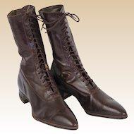 Edwardian Era Brown Leather High Top Ladies' Lace Up Boots Sz 7N