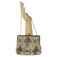 Vintage Beaded Handbag, Multi Colored Pearl Beading, Made in Hong Kong