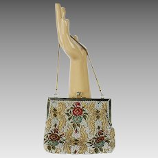 Vintage Beaded Handbag, Multi Colored Pearl Beading, Made in Hong Kong