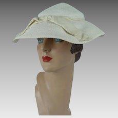 1950s Vintage Hat Ivory Straw Wide Brim Mushroom Style
