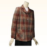 1950s Vintage Jacket Wool Tweed Swing Coat, Neiman Marcus B42 W44