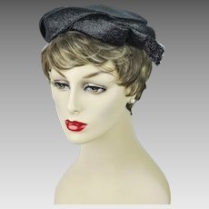 1950s Vintage Hat Black Straw Pillbox