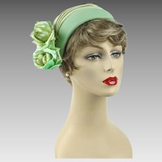 1950s - 1960s Vintage Hat Mint Green Faille Clip with Silk Florals Saks