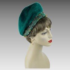 1960s Vintage Hat Kelly Green Faux Fur Beaded Beret Oleg Cassini Sz 21 1/2