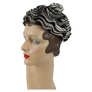 1960s Vintage Hat Black Taupe and Cream Ruffled Straw Pixie by Evelyn Varon