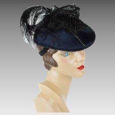 Vintage Hat Black Velvet Tilt with Black Ostrich Feathers