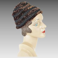 1940s Vintage Hat, Silk and Mouton Weave Pixie by Vogue Hats Schwab in DC Sz 22