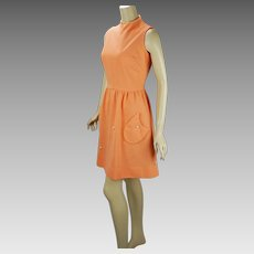1960s Vintage Dress Peach Summer Mini Dress, Marie Phillips Sz 15 B38 W29