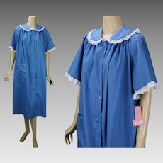 Vintage Housecoat, Blue Denim Lace Trimmed House Dress, Robe NOS by Carole Sz XL