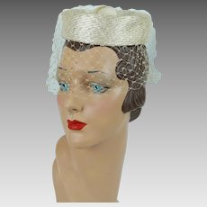 1960s Vintage Hat Ivory Straw Veiled Mini Pillbox - Bambergers
