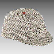 1950s Vintage Boys Cap Plaid Beanie Hat with Bill NOS NWT Sz M  20 1/2