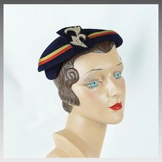 1950s Vintage Hat Navy Blue Beret with Grosgrain Ribbon and Pearl Accents