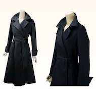 Vintage DVF Diane von Furstenberg for Main Street I Magnin Black Belted Trench Swing Coat Sz S