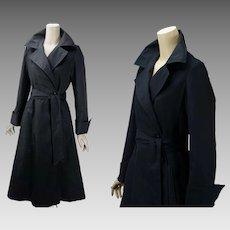 Vintage DVF Diane von Furstenberg for Main Street I Magnin Black Belted Trench Swing Coat Sz S