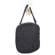 1950s Vintage Handbag Black Beaded Corde Bead with Double Clear Rhinestone Clasp