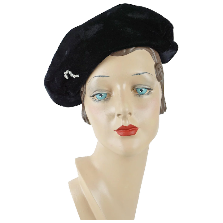 5acac9161feb1 1940s Vintage Hat Black Velvet Asymmetrical Cap with Clear Rhinestone    Alley Cats Vintage