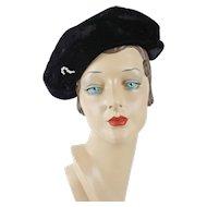 1940s Vintage Hat Black Velvet Asymmetrical Cap with Clear Rhinestone Brooch Sz 21