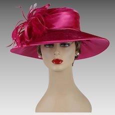 Vintage Wide Brim Hat Hot Pink Velvet and Satin NOS August Millinery Sz 22