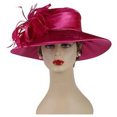 Vintage Wide Brim Hat Hot Pink Velvet and Satin NOS August Millinery Sz 22