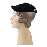 1940s Vintage Hat Black Velvet Beret with V in Rhinestone Buttons Leslie James Sz 20