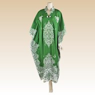 1980s Vintage Batik Caftan Green and White Cotton Thailand