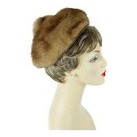 1960s Vintage Hat Light Brown Mink Pixie by Bettina