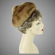 1960s Vintage Hat Light Brown Mink Pixie by Bettina