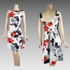 1970s Vintage Dress Red and White Poppy A-line B38 W32