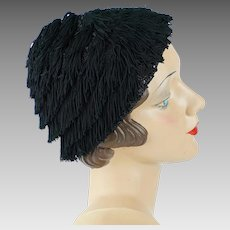 1940s Vintage Hat Black Fringed Cap from Macys Sz 21