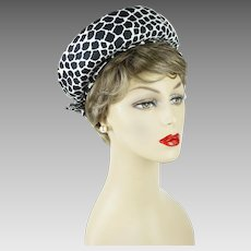 1960s Vintage Hat Black and White Animal Print Open Crown Hat by Sally Victor