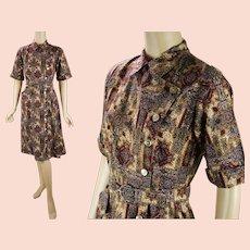 1970s Vintage Dress Brown Paisley Shirt Dress   Single Patch Pocket  B36 W28