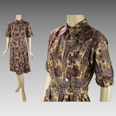 1970s Vintage Dress Brown Paisley Shirt Dress B36 W28