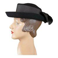 1940s Vintage Hat Black Breton with Bow New York Creations Sz 21 1/2