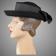 1940s Vintage Hat Black Breton with Bow New York Creations Sz 21 1/2