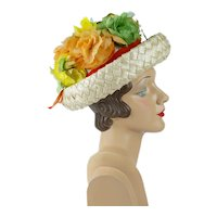 1960s Vintage Hat Beige Cello Straw Breton Crowned with Silk Flowers Mr Josephs Sz 21