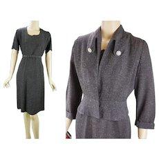 1950s Vintage Suit Grey and Teal Tweed Dress with Peplum Jacket by Leslie Grey VOLUP B42 W36 - Red Tag Sale Item
