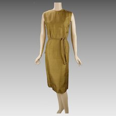 1960s Vintage Dress Bronze Silk Sheath Dress by Mancini NOS Sz 14 B40 W27