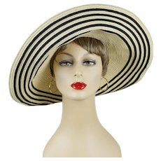 afd1b147459a2 Ralph Lauren Wide Floppy Brim Hat Black and Tan Straw Sunhat Sz M 23. Recently  Sold on Ruby Lane