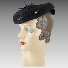 1940s Vintage Hat Black Felt Tilt with Sequins and Bows NY Creations Tipster