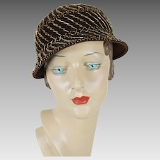 1940s - 1950s Vintage Hat Brown Short Brim with Gold Beading by Vera Whistler Sz 21