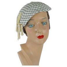 a224024a6e1a1 Recently Sold on Ruby Lane. SOLD. 1950s Vintage Hat Grey and White Check  Tilt Beret w  Tassels by Sherman