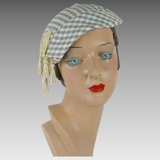1950s Vintage Hat Grey and White Check Tilt Beret w/ Tassels by Sherman